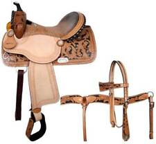 "14"" Double T Barrel Saddle With Alligator Print Seat and Matching Bridle Set!"