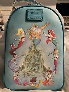 Ariel W/ Sisters & King Triton In Front Of Castle Loungefly Backpack  LE 750