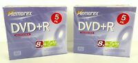 10 DVD+R / Two 5 Pack Memorex DVD+R 8x 4.7GB 120 Min RW Recordable Enregistrable