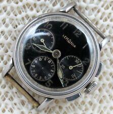 Lemania 3 Register Chronograph Black Dial SS Project Men's Wrist Watch. You Fix