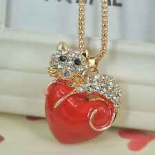 Red Heart Cat Sweater Bead Necklace Rhinestone Crystal Pendant Christmas Gift