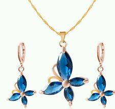 crystal butterfly necklace and earring set blue wedding  bridesmaid birthday 885