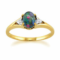 9ct Yellow Gold 0.62ct Triplet Opal & Diamond Ring Size