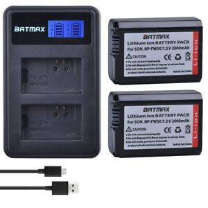 NP-FW50 NP FW50 Camera Battery + LCD USB Dual Charger for Sony Alpha