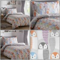 OWLS Cute Kids Animal Reversible Printed Duvet Quilt Cover Set Bedding Set Multi