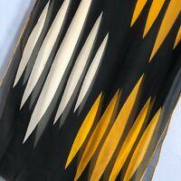 "Vintage Baar and Beards 46"" Oblong Black Mustard Abstract Sheer Silk Scarf"