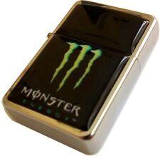 MONSTER ENERGY DRINK Logo Black Smoking Cigarette Petrol Lighter Silver Metal