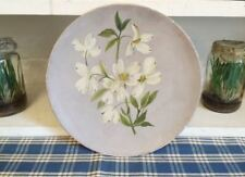 1800's Antique Oil Painting FLOWERS on PAPER MACHE Plate - Wall Hanging vtg Art
