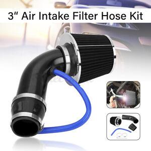 Universal Car Cold Air Intake Filter Black Alumimum Induction Pipe Hose  >