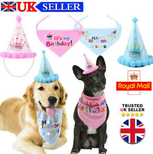 Pet Dog Cat Happy Birthday Hat Headwear Bandana Cute Neckerchief Ties Party UK