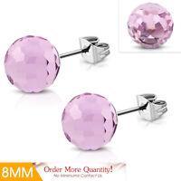 8mm Stainless Steel Light Pink Crystal Bead Balls Stud Earrings pair