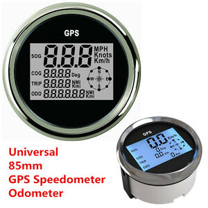 Autos Truck Marine 9-32V Waterproof GPS Digital Speedometer Odometer Gauge 85mm