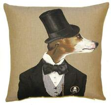 tapestry cushion throw pillow cover dandy greyhound whippet dog with top hat