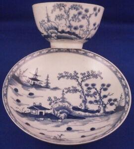 Antique 18thC Worcester Porcelain Cannonball Cup & Saucer Porzellan Tasse