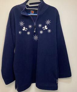 Vintage Disney Mickey  Unlimted Women's Distressed Large Blue Fleece Sweatshirt