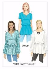 Vogue V9129 Very Easy to Make Peplum Top Blouse Tunic Sewing Pattern Size 6-14