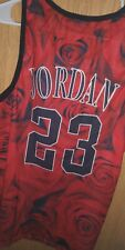 Jordan Chicago Jersey 23 Vintage Style Jersey Rose Print Red Black and White Xxl