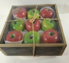 Smith and Hawken Apple Candles in Rustic Wooden Box - New In Box!