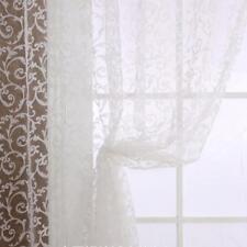 2Pcs Flocage Fenêtre à rideaux transparents Balcon Tulle Divider Panel