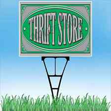 """18""""x24"""" THRIFT STORE Outdoor Yard Sign & Stake Sidewalk Resale Donation Clothing"""