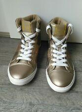 Ladies GUESS Trainers Gold Rhinestone Embellished Hi top Sneakers UK 5/ EUR 37