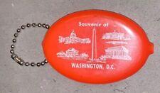 Plastic Squeeze Coin Purse Keychain Ring Vintage Orange Washington DC Souvenir