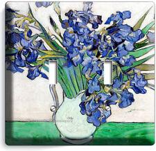 Vincent Van Gogh Irises Flowers White Vase 2 Gang Light Switch Plates Room Decor