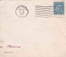 F11 partie d'enveloppe oblitération de CHICAGO Aug 13 1932