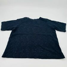 Black Floral Short Sleeve Rose Lace Top Size 22/24