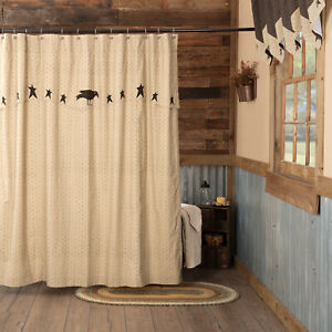 "VHC Brands Kettle Grove Primitive Shower Curtain Crow Star Black Creme 72x72"""