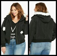 e5120ccacf9 NWT Torrid Plus Size 0 0X Nylon Bomber Jacket With Faux Fur Hood and Pom (
