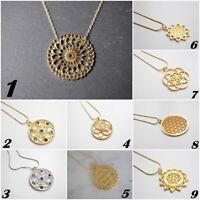 Halskette mit Symbole Anhänger silber - gold - Mamdala - Muster