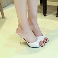 Mules Fashion Sandals Peep Toe Stilettos Casual Shoes Slip On  Women's High Heel