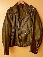 Brent Perfecto Black Leather Motorcycle Jacket Size 42 Two Stars/Biker/Rocker