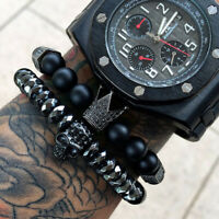 Luxury Men Micro Pave CZ Crown Skull Cuff Charm Beaded Bracelet Matte Agate Bead
