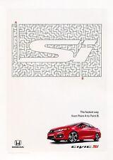 2015 Honda Civic Si Coupe Original Advertisement Print Art Car Ad J548