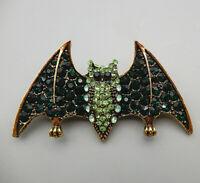 Women's Green Crystal Rhinestone Cute Bat Betsey Johnson Brooch Pin