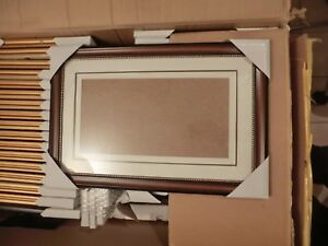 5 x Bilderrahmen Portrait Rahmen Kunststoffrahmen braun 40x40 cm u. Passepartout