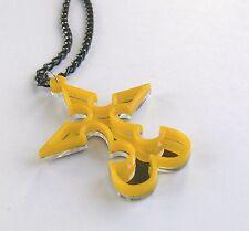 Kingdom Hearts necklace Nobody Emblem Laser cut yellow plastic