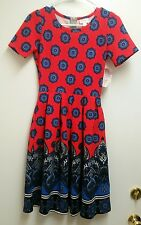 NWT LuLaRoe Amelia XS Poppy Red Navy Blue Paisley Medallion Dip Dye UNICORN