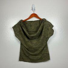 Maharishi Women's Camo Print Peached Jersey Tee in Olive Green Size 10