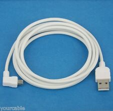 2M Fast Charging ONLY Left Angle Micro USB Cable WHITE for Android phone tablet