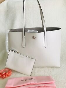 New Kate Spade Molly Large Leather Tote & Pouch - White