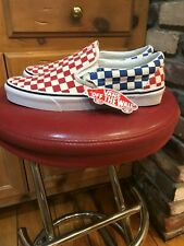 """MENS NEW VANS """"ONLY IN AMERICA"""" RED WHITE & BLUE CHECKERBOARD SIZE 10"""