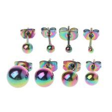 8Pcs Tiny 2-8mm Stainless Steel Round Ball Bead Charm Elegant Stud Earrings Set
