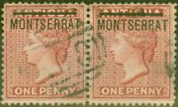 Montserrat 1884 1d Red SG8a Inverted S in a V.F.U Pair with Normal Rare Ex- S...