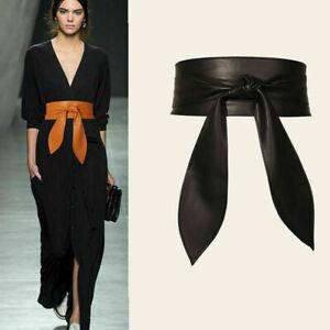 Women Fashion Faux Leather Wide Waist Belt Wrap Around Self Tie waistband