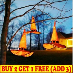 LED Glowing Witch Hat Halloween Tree Hanging Decor Light Up Witches Caps UK New
