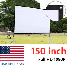150'' Hd Projector Screen 16:9 Home 4K Movie Theater Opaque Foldable 160° View