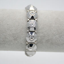 retired lia sophia signed jewelry silver plated CZ cut crystals stretch bangle